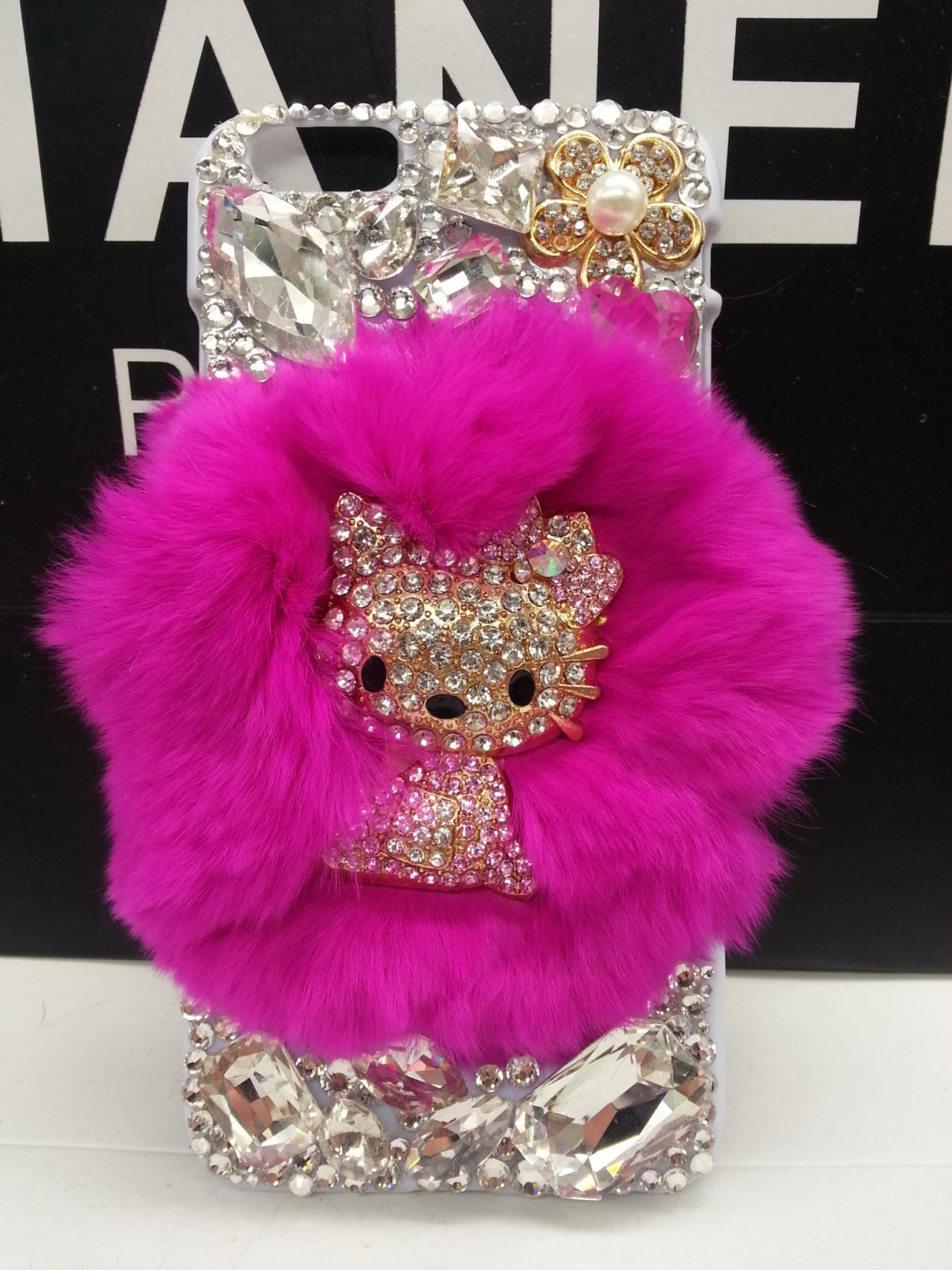 iPhone 6S Case-hellokitty kawaii phone covers-hot pink real fur swarovski  stones iPhone 550b7d683