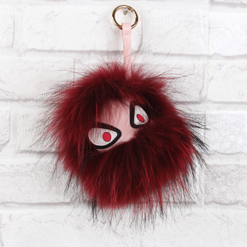 a5a8d72cbf85 Real Fur Bag charm monster bugs bag charms Wine Red Fox Fur -Classic  Monster Fur